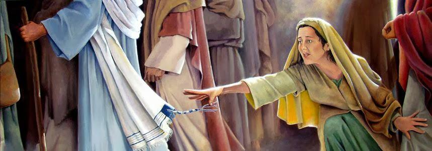 Žena dotiče Isusa
